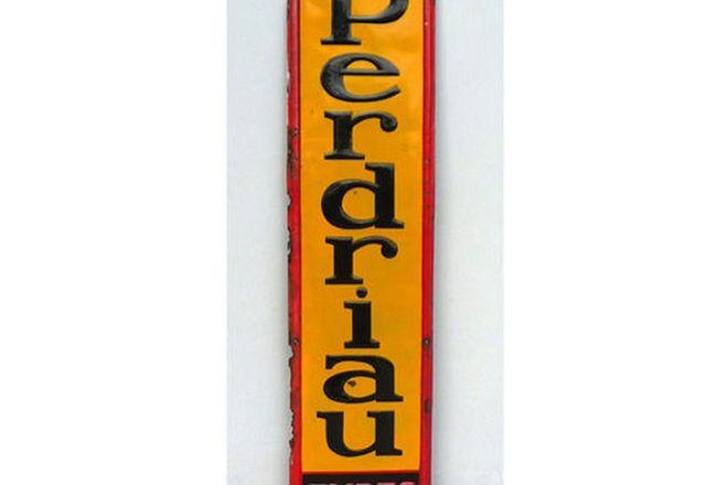 Enamel Sign - Enamel pressed sign Perdriau Tyres (183 x 43cm)