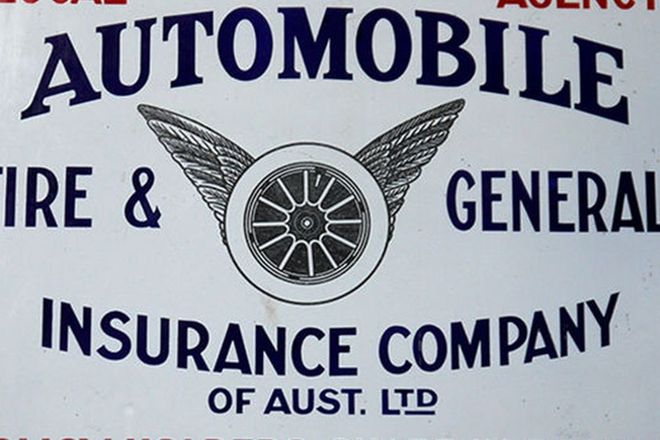 Enamel Sign - Automobile Insurance Agency (61 x 46cm)