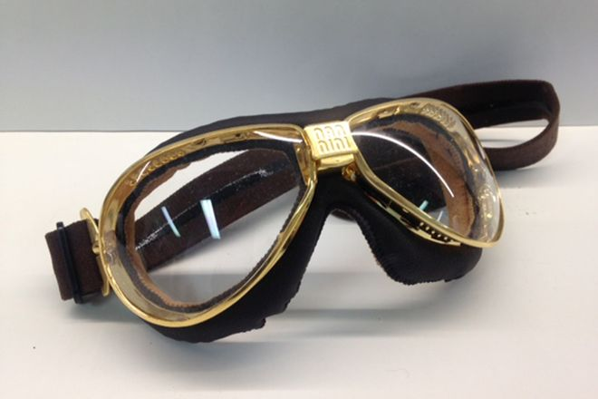 Mannini Brass & Leather Italian Goggles