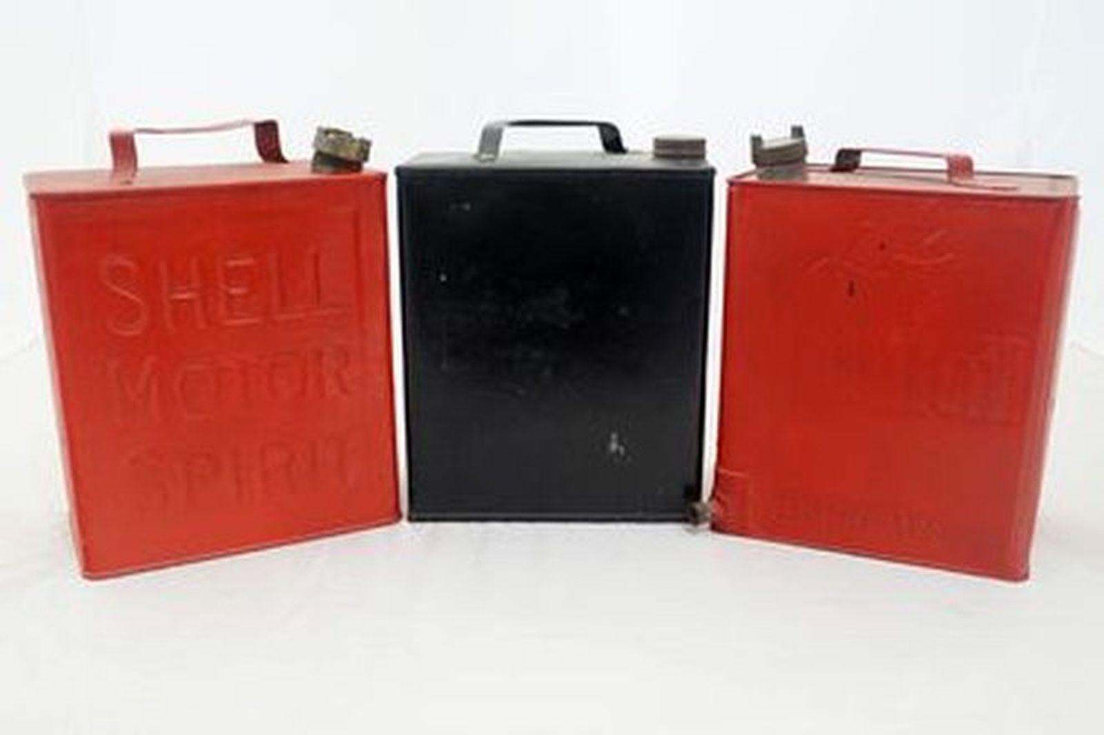 Petrol Tins x 3 Shell, Mobil Oil, No Name