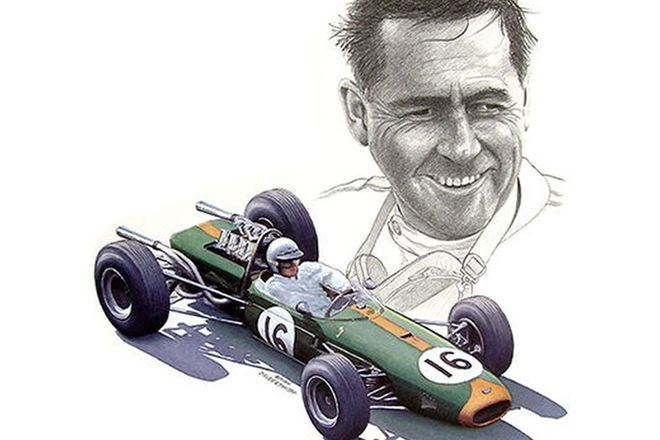 Framed Signed Print - Print signed by Jack Brabham and Artist Brian Caldersmith (No.114/200)