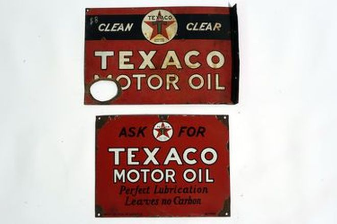 Enamel Signs x 2 - Texaco Motor Oil Double Sided Post Mount & Texaco Motor Oil Rectangular