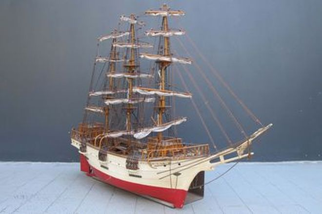 Model Ship - Scratch Built Timber 3 Mast Sailing Ship (with Metal Wall Mount Bracket)