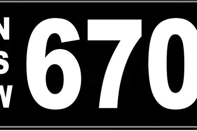 Number Plate - NSW Numerical Number Plate '670'