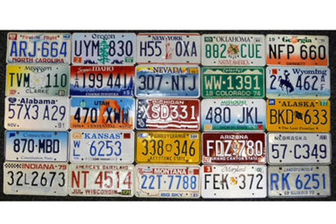 Number Plates - 50 USA Plates (One for each state)