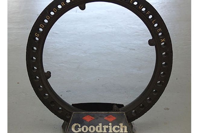 Tyre & Stand - Early Vintage Goodrich Pneuflex Tyre with Goodrich Stand (80cm tall)