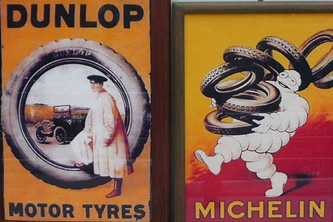 Framed Posters x 2 - Michelin (reproduction) 67 x 93cm and Dunlop (reproduction) 74 x 102cm