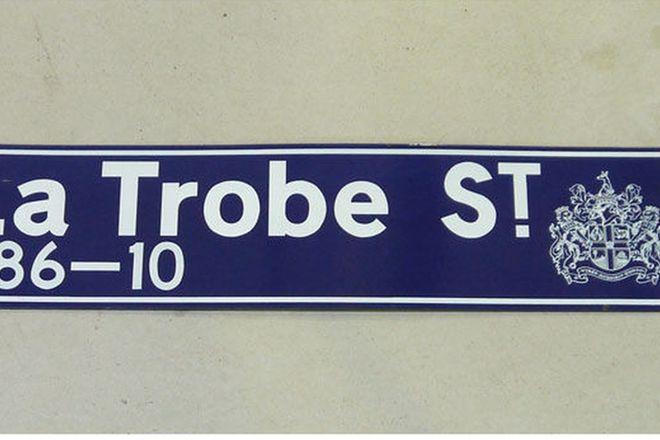 Enamel Street Sign - c1940's Melbourne LaTrobe St