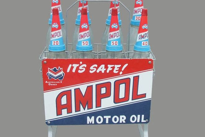 Ampol Oil Rack with 8 Bottles and tops (Restored)