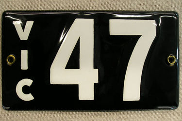 Victorian Vitreous Enamel Number Plates - '47'
