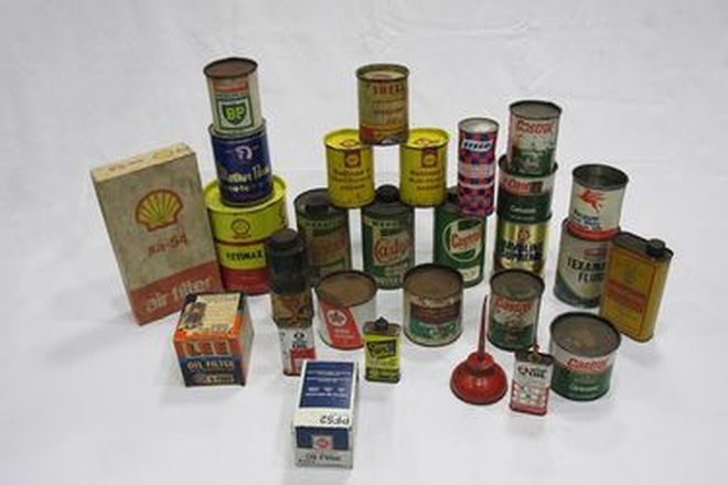 Oil Tins - 27 x Assorted Tins (Includes Shell, BP, Castrol)