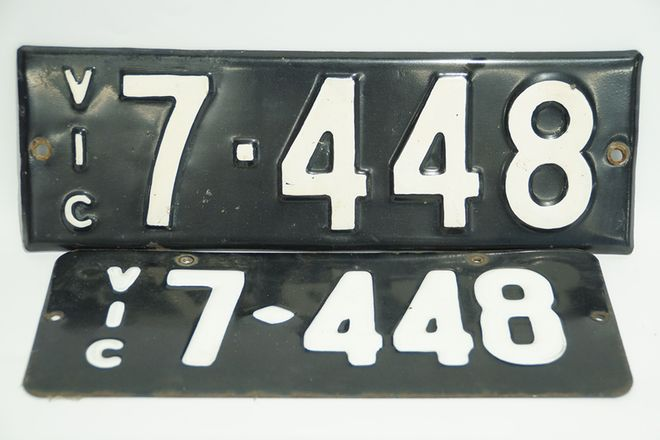 Number Plate - Victorian Numerical Number Plate - '7448' (3 Plates)
