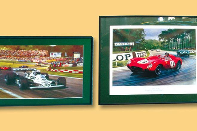 2 x Prints - Grand Prinx Scene by Michael Turner (No.225/250) & Phil Hill in Ferrari 250TR at 1958 L