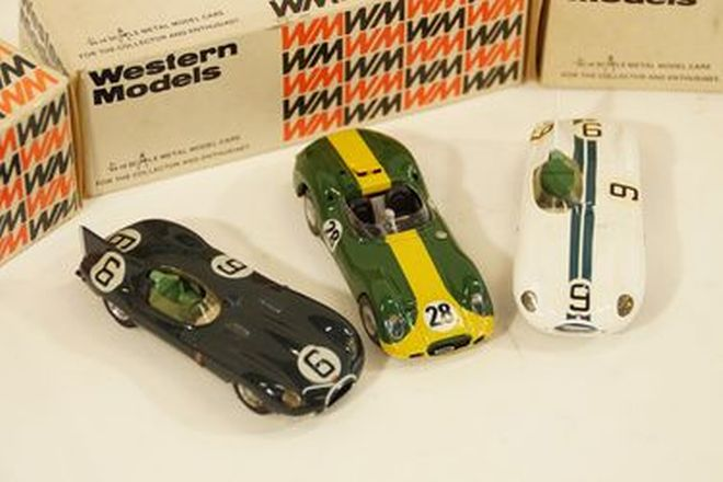 Model Cars x 3 - Western Models Metal 1958 Lister Jaguar Green, D-Type #6 BRG & #9 White