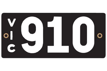 Victorian Heritage Numerical Number Plate - 910