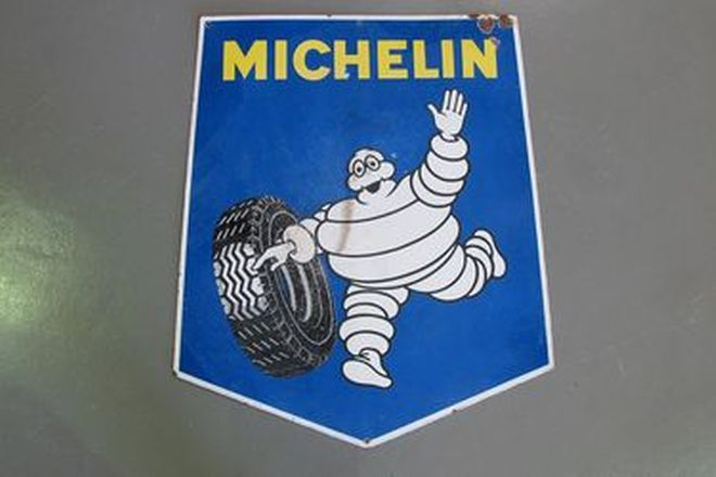 Enamel Sign - Michelin Shield 'Double Sided' Sign (95 x 112cm)