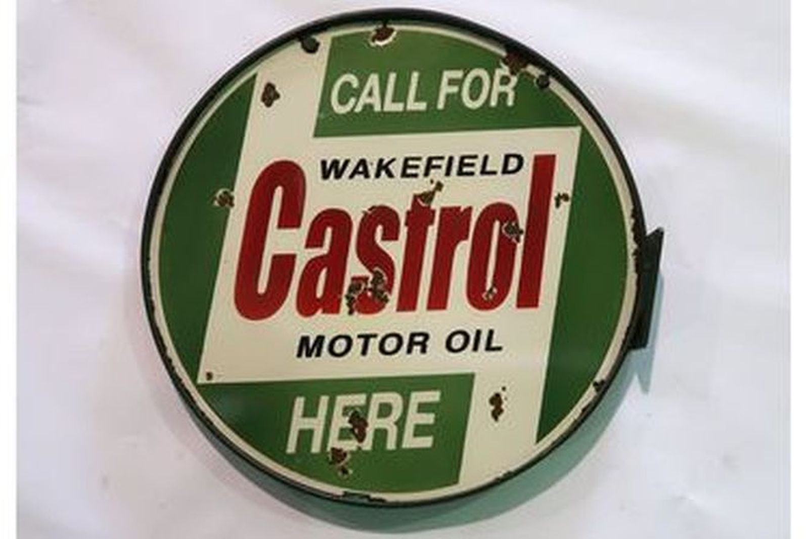 Enamel Sign - Round Wakefield Castrol Motor Oil on Mounting Bracket (61cm diameter)