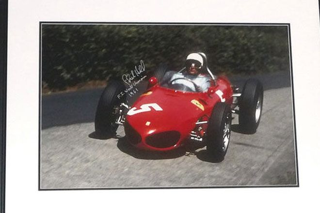 Framed Signed Print - Phil Hill 1961 Formula 1 World Champion in Ferrari 'Shark Nose' (Limited editi