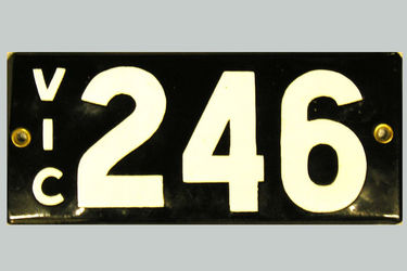 Victorian Vitreous Enamel Number Plates - '246'