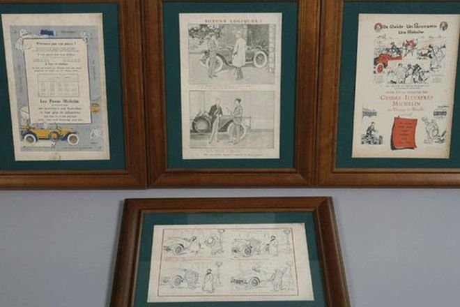 Framed Prints - 4x Michelin Advertising Prints
