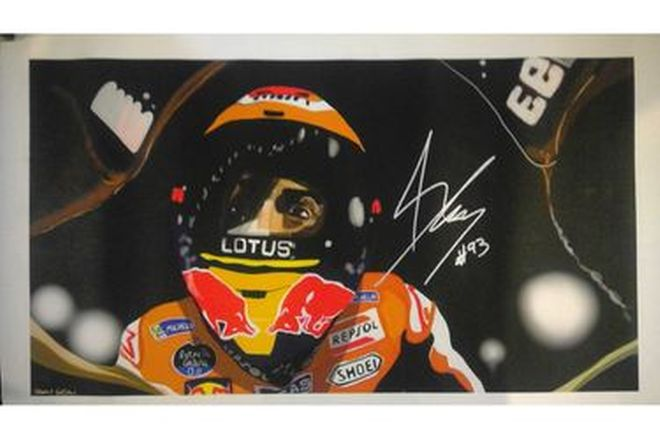Painting of Marc Marquez Signed - 29cm x 52cm approx