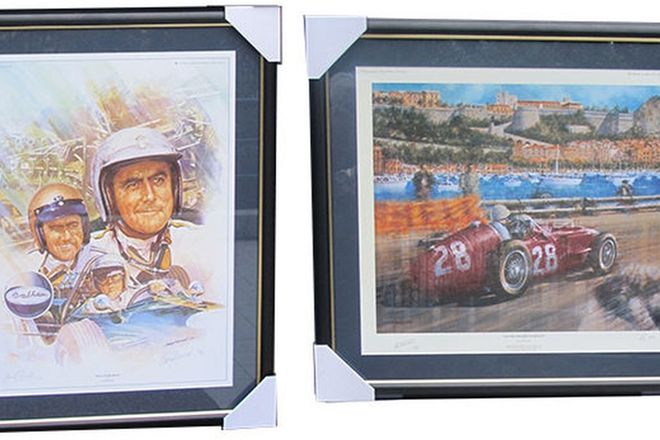 Framed Signed Prints -  Sir Stirling Moss (71 x 66cm) & Sir Jack Brabham (80 x 65cm)