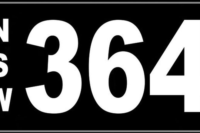 Number Plates - NSW Numerical Number Plates '364'