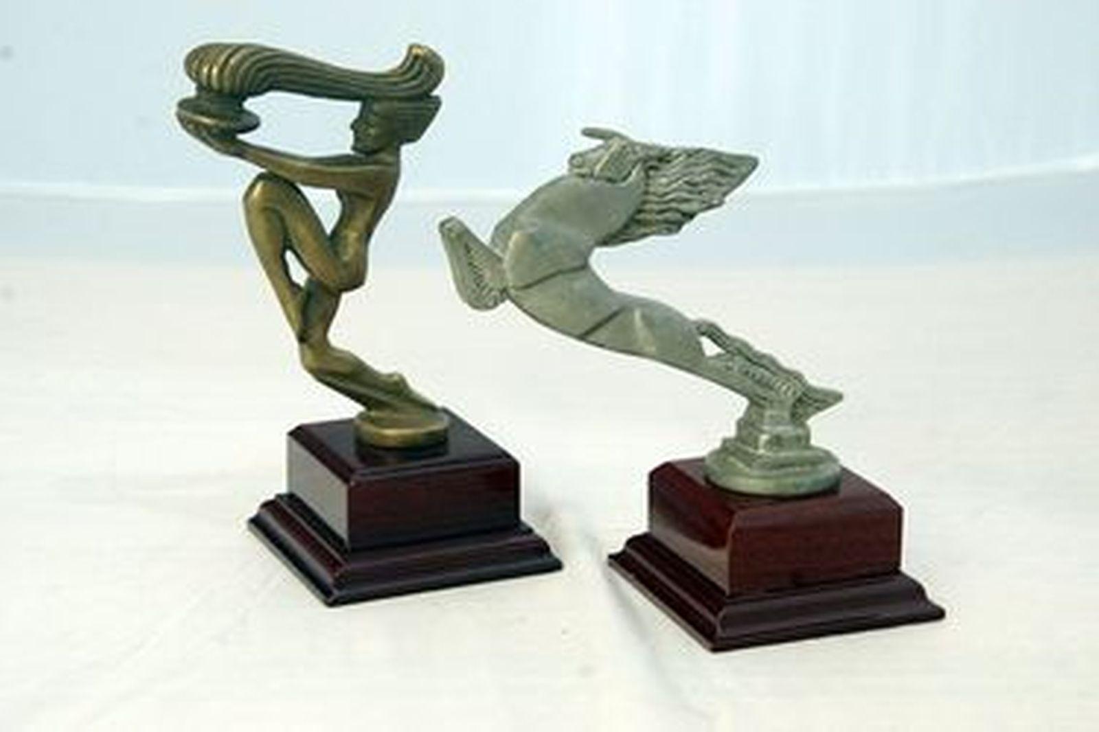 Car Mascots - Art Deco Bazin style Unicorn Mascot (13cm Tall) & Flame Torch Mascot (16cm Tall)
