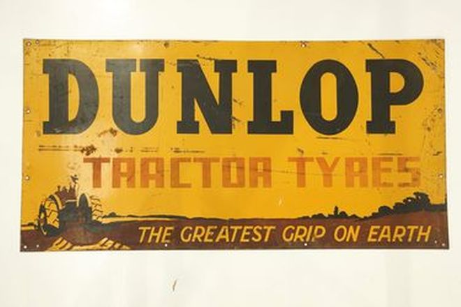 Dunlop Tractor Tyre Enamel Sign (6'x 3')