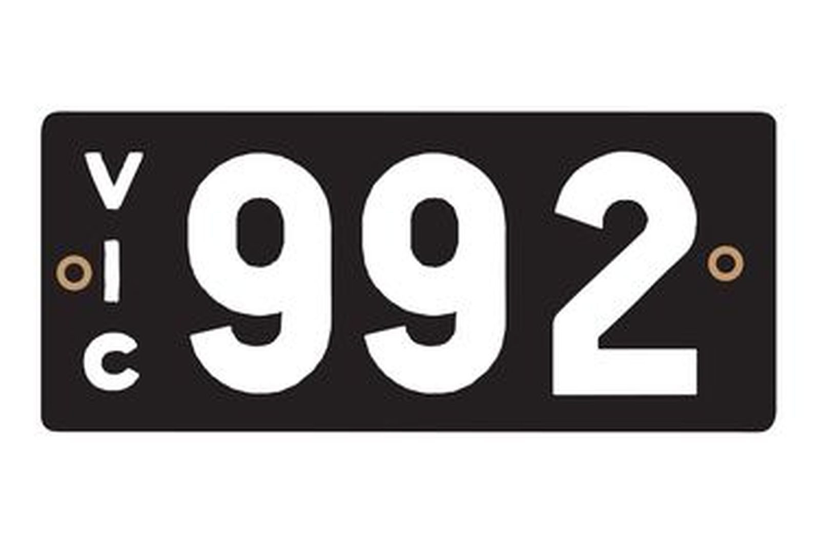 Number Plates - Victorian Heritage Numerical Number Plates '992'
