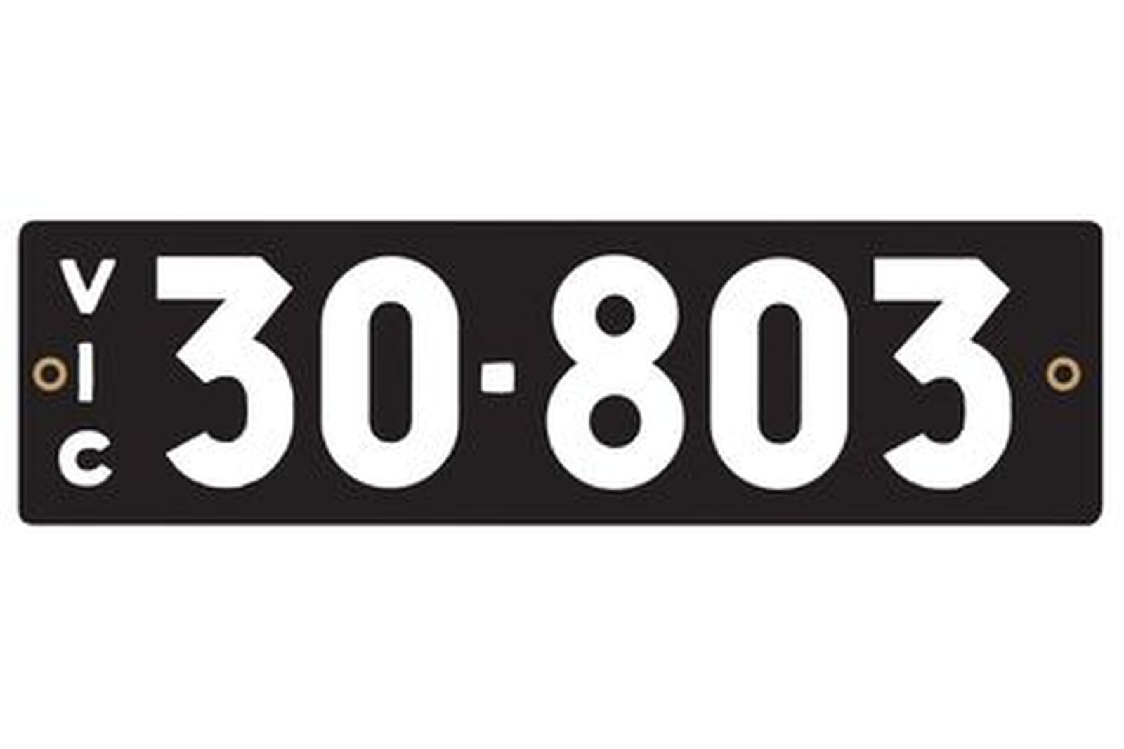 Number Plates - Victorian Heritage Numerical Number Plates '30-803'