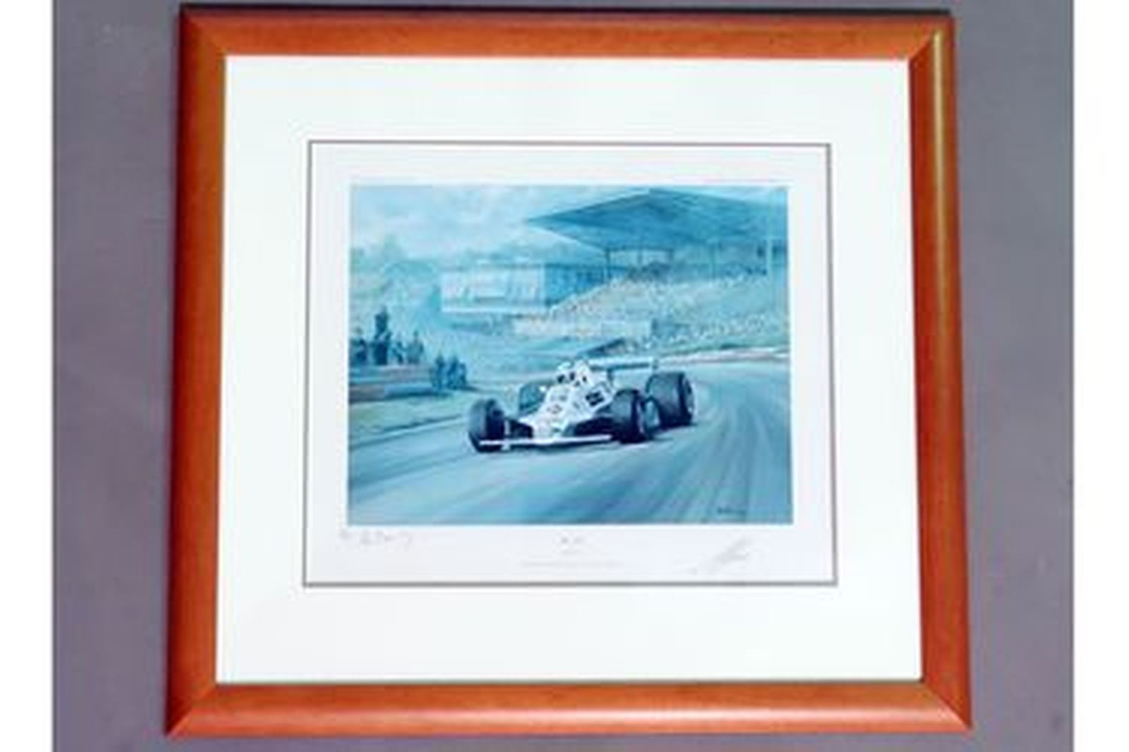 Framed Signed Print - 'Alan Jones' by Alan Fearnley Limited Edition No.231/850 (77cm x 72cm)