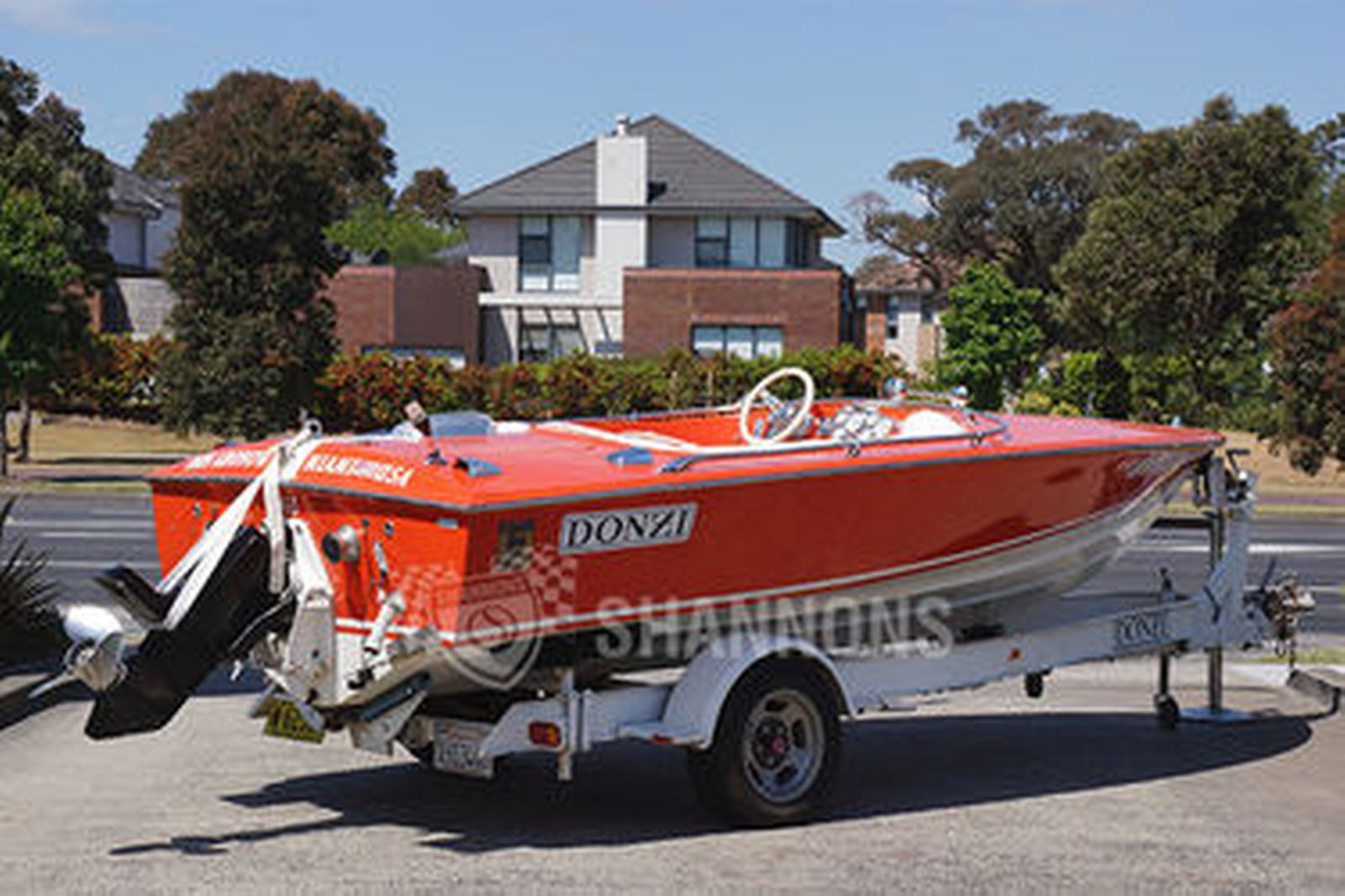 Donzi 'Sweet 16' Fibreglass Speed Boat on single axle trailer