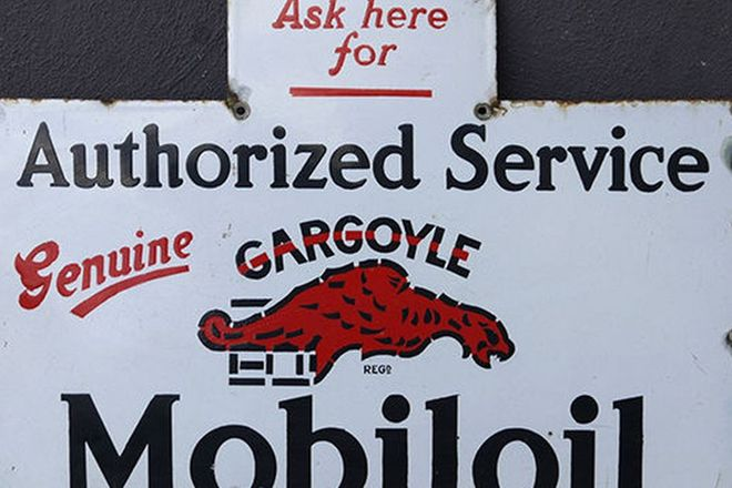 Enamel Sign - Mobiloil Gargoyle from large Oil Rack ( 54cm x 73cm)
