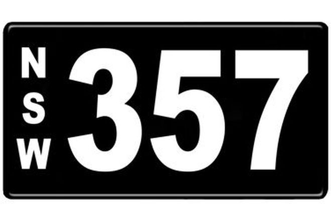 Number Plates - NSW Numerical Number Plates '357'