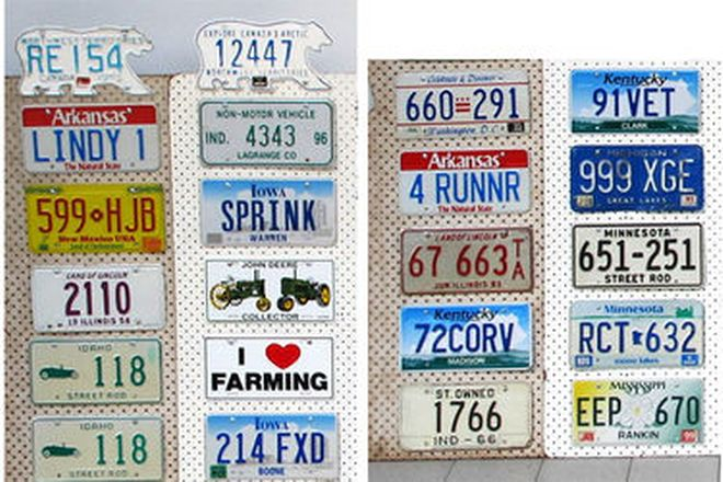 Number Plates x 54 - USA and Canadian Number and Novelty Plates mounted on 3 boards