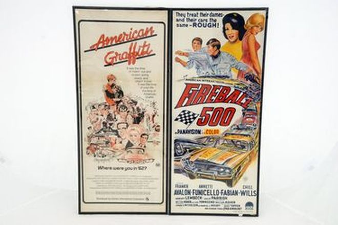 Framed Movie Posters - 1x Fireball 500 & 1x American Graffiti Daybill (76 x 33cm)