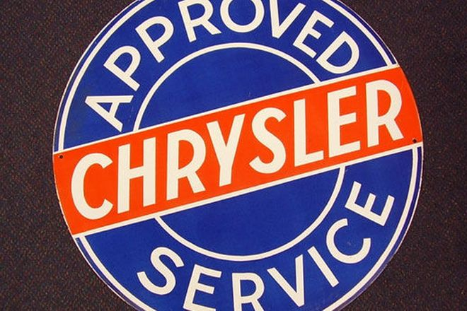 Enamel Sign - Chrysler Dealership Double sided