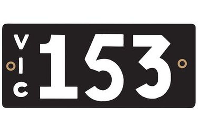 Number Plates - Victorian Numerical Number Plates '153'