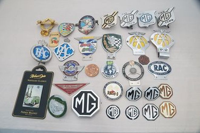 Car Badges x 32 - Box of Assorted MG, Sporting Clubs, RAC, AA & Racing Clubs