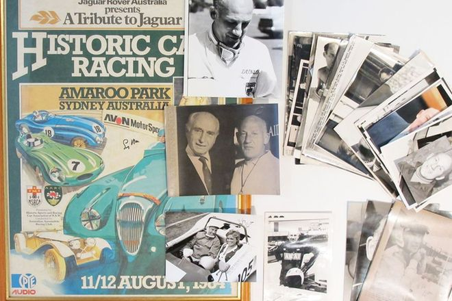 Framed Historic Car Racing Poster and Assorted Stirling Moss Press Photos