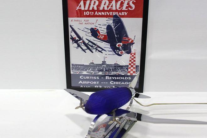 Art Deco DC3 Lamp (30 x 34cm) Plus Small Framed Air Races Print (43 x 33cm)