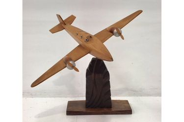 1930 French Art Deco Wooden Airplane