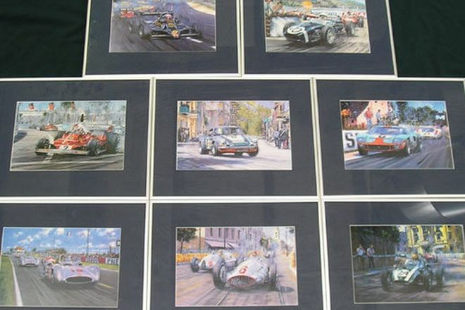 Framed Prints - Vintage Race Scenes x8