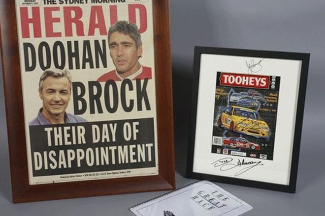 Framed SMH Poster 'Day of Disappointment', Signed Bathurst Print & Signed Statistics Book