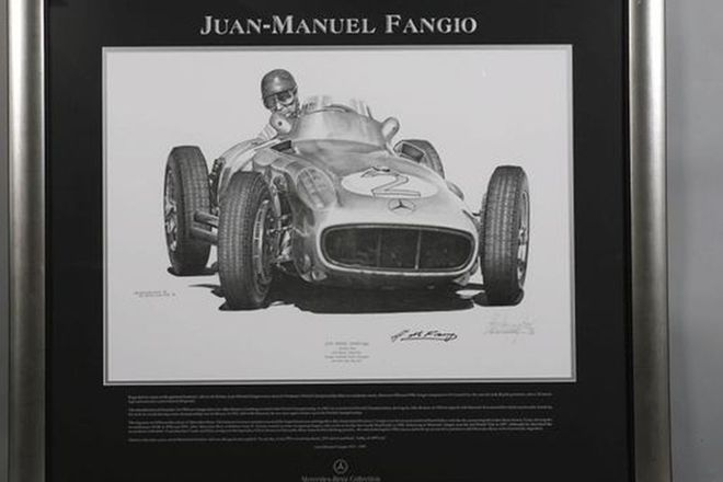 Framed Print - J.M Fangio in Mercedes-Benz at 1955 Monaco GP