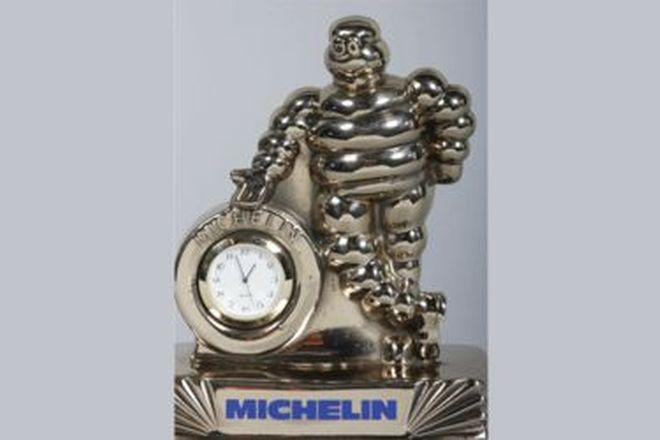 Desk Clock - Michelin Brass Clock on Marble Base with Michelin Bag