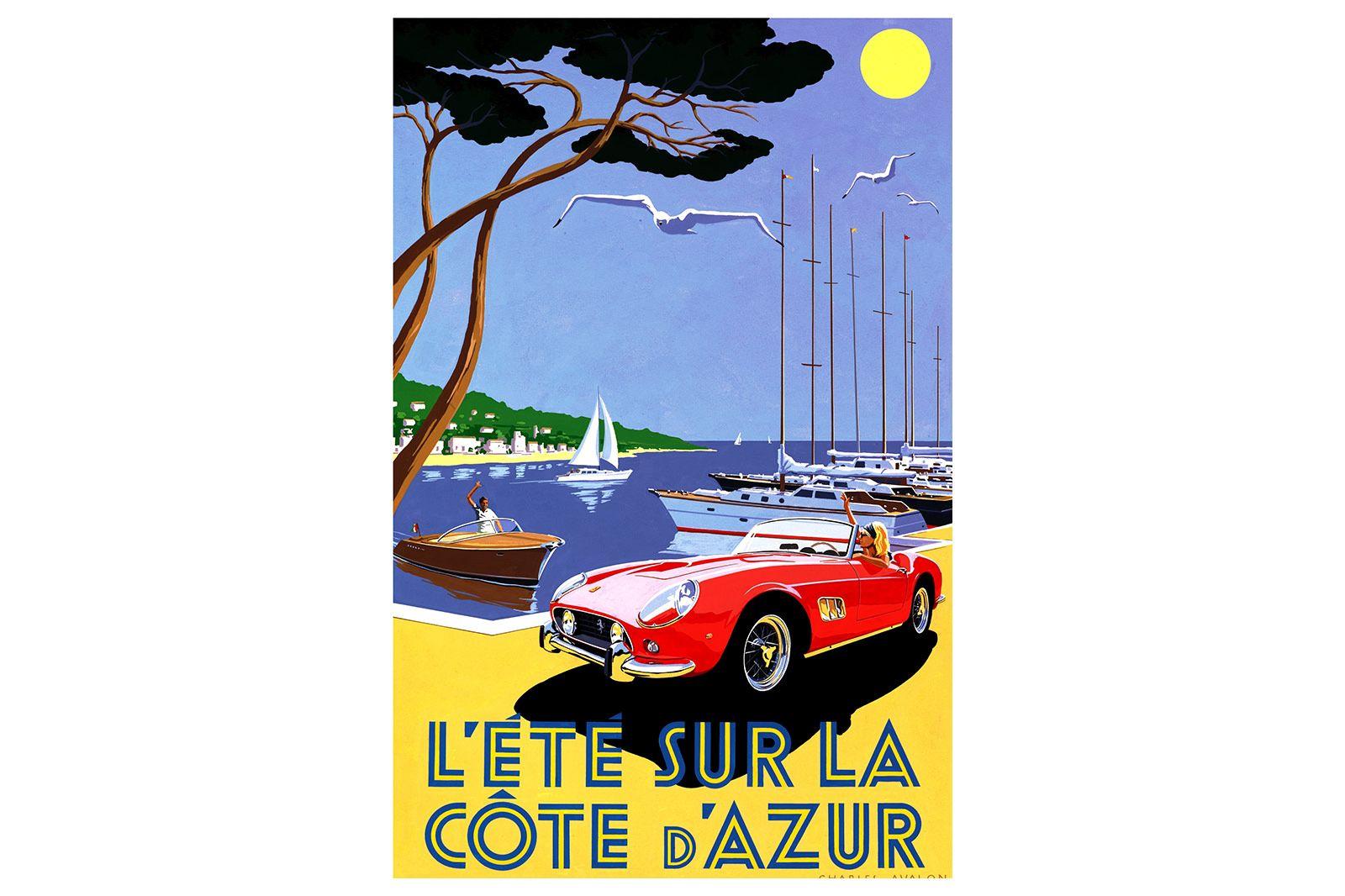 Vinyl Hanging Posters - Ferrari at Cote D'Azur
