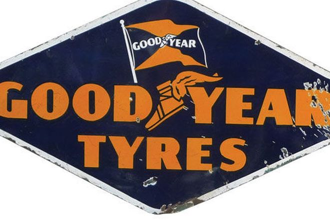 Enamel Sign - Goodyear Tyres 'Diamond Shape' Double Sided (120 x 67cm)
