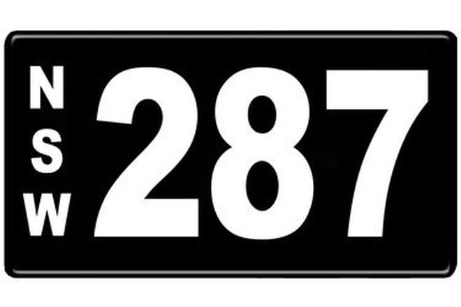 Number Plates - NSW Numerical Number Plates '287'